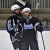 Jon Behm - The Morning Journal<br /> Benedictine sophomore Matt Carson celebrates his shorthanded goal with teammate Ted Houser (23) during the first period of an OHSAA Brooklyn District first round game against Parma on Feb. 15 at Brooklyn's John M. Coyne Recreation Center.