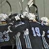 Jon Behm - The Morning Journal<br /> Benedictine sophomore Matt Carson is mobbed by his teammates after scoring the winning goal of an OHSAA Brooklyn District first round game in overtime against Parma on Feb. 15 at Brooklyn's John M. Coyne Recreation Center.