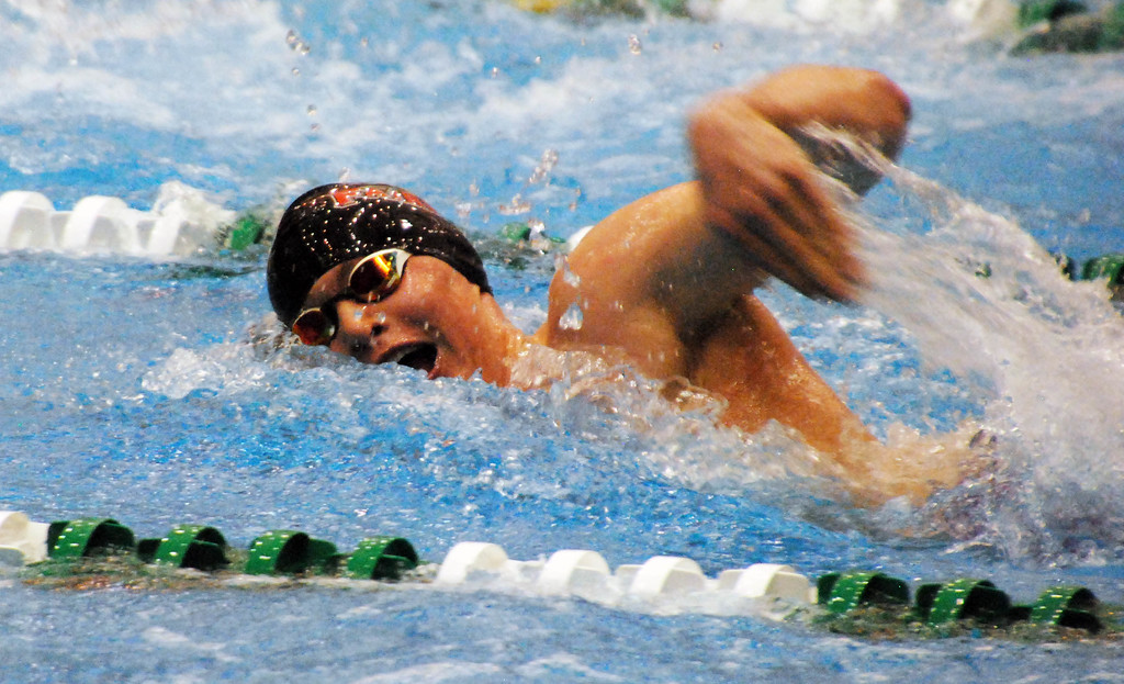 . Jon Behm - The Morning Journal<br> Fairview junior Marvin Kreis swims the 200 freestyle at the Division II Northeast District meet on Feb. 16 at Cleveland State\'s Robert F. Busbey Natatorium. Kreis placed sixth in the event with a time of 1:46.42.
