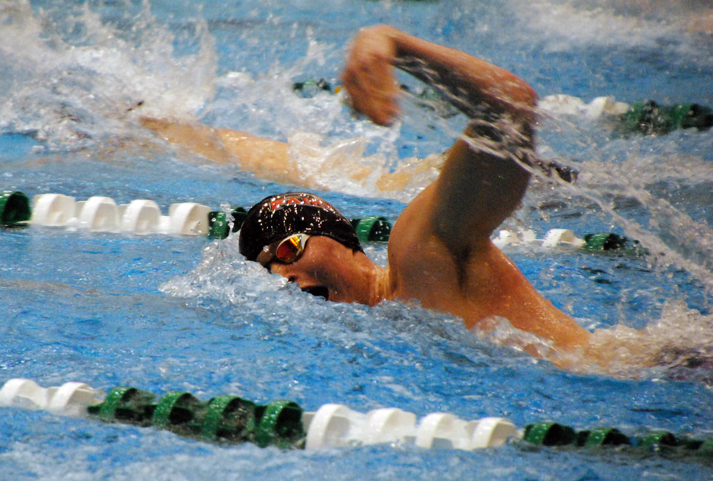 . Jon Behm - The Morning Journal<br> Fairview\'s Marvin Kreis swims the 100 freestyle at the Division II Northeast District meet on Feb. 16 at Cleveland State\'s Robert F. Busbey Natatorium.