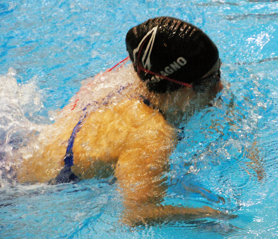 . Jon Behm - The Morning Journal<br> Bay\'s Jacqueline Melaragno swims the breaststroke leg of the 200 medley relay at the Division II Northeast District meet on Feb. 16 at Cleveland State\'s Robert F. Busbey Natatorium.
