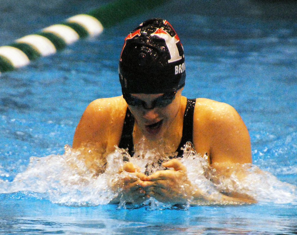 . Jon Behm - The Morning Journal<br> Hawken\'s Portia Del Rio Brown swims the breaststroke leg of the 200 Individual Medley at the Division II Northeast District meet on Feb. 16 at Cleveland State\'s Robert F. Busbey Natatorium. Brown took first in the race.