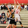 Barry Booher - The News-Herald<br /> Riverside's Olivia Parson's blocks the shot attempt of Mentor's Marilyn Moyer.