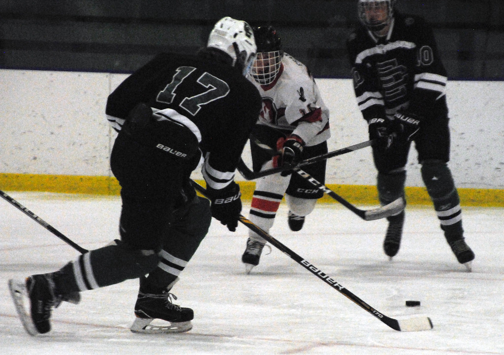 . Jon Behm - The Morning Journal<br> Elyria Catholic\'s Sonny Elbert and Normandy\'s Alex Franke race to a loose puck during the first period of a Brooklyn District sectional semifinal on Feb. 18 at Brooklyn\'s John M. Coyne Recreation Center.