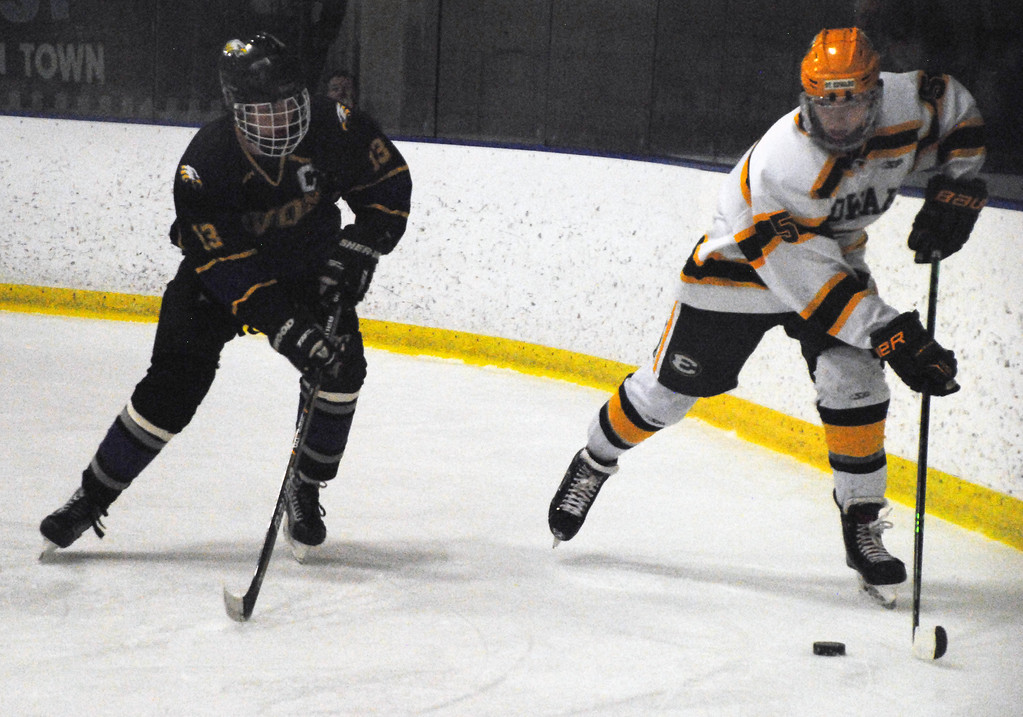 . Jon Behm - The Morning Journal<br> Avon\'s Jake Folds defends St. Edward\'s Frank Crisafi during the first period of a Brooklyn District sectional semifinal on Feb. 18 at Brooklyn\'s John M. Coyne Recreation Center.