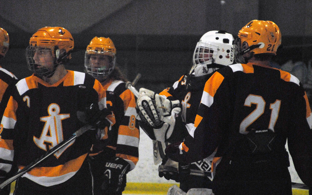 . Jon Behm - The Morning Journal<br> Avon Lake players take a moment to talk with goalie Cam Stepka during the first period of a Brooklyn District sectional final against Rocky River on Feb. 20 at Brooklyn\'s John M. Coyne Recreaction Center.