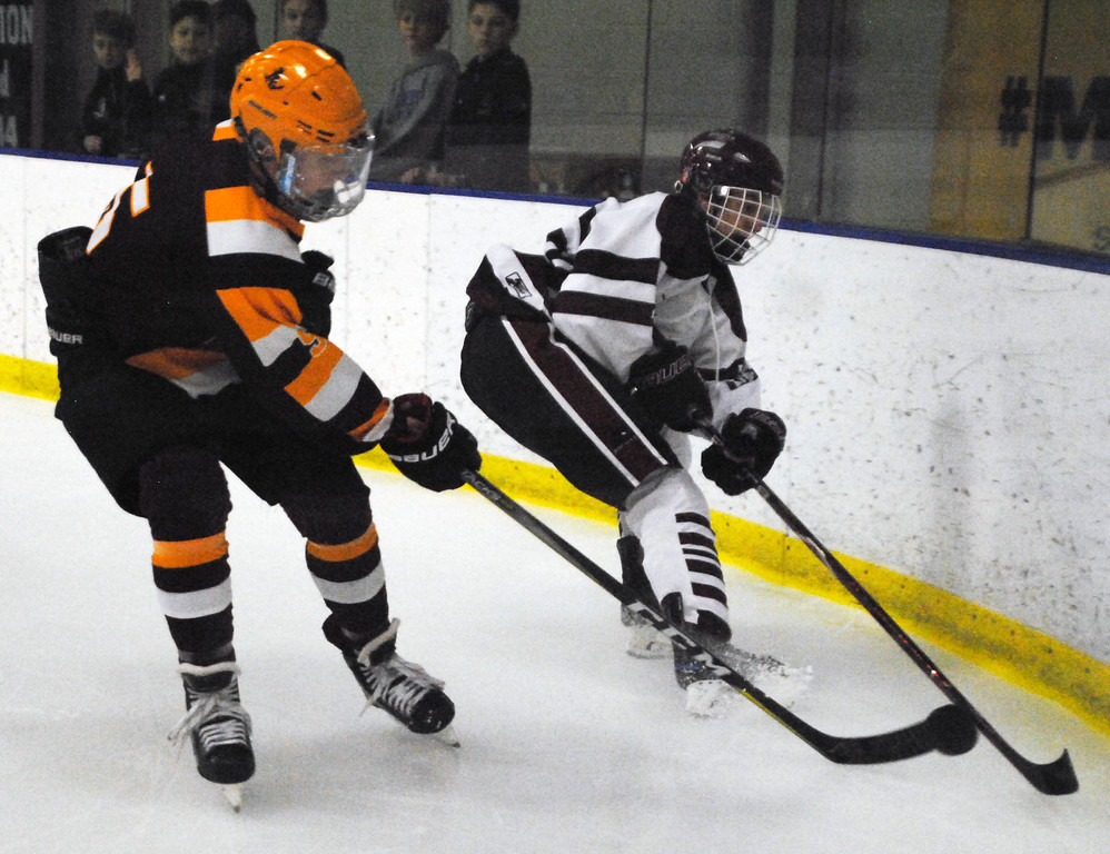 . Jon Behm - The Morning Journal<br> Rocky River\'s Danny Asmar works to clear the puck amid defense by Avon Lake\'s Luke Farthing during the first period of a Brooklyn District sectional final on Feb. 20 at Brooklyn\'s John M. Coyne Recreaction Center.