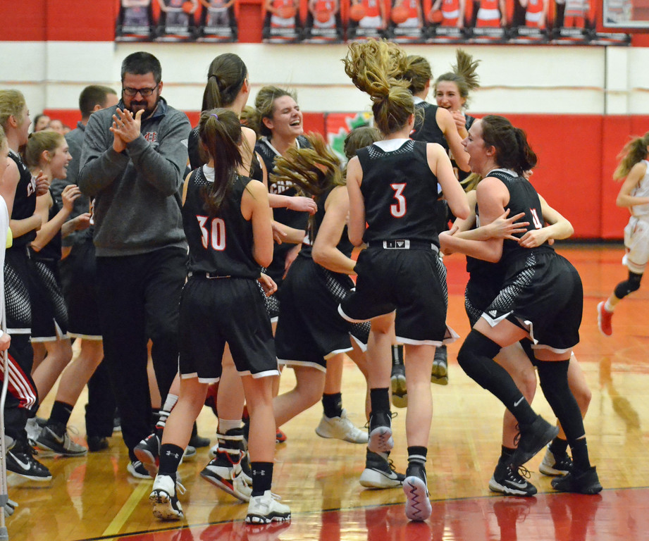 . Paul DiCicco - The News-Herald Chardon celebrates after defeating Mentor on Feb 22.