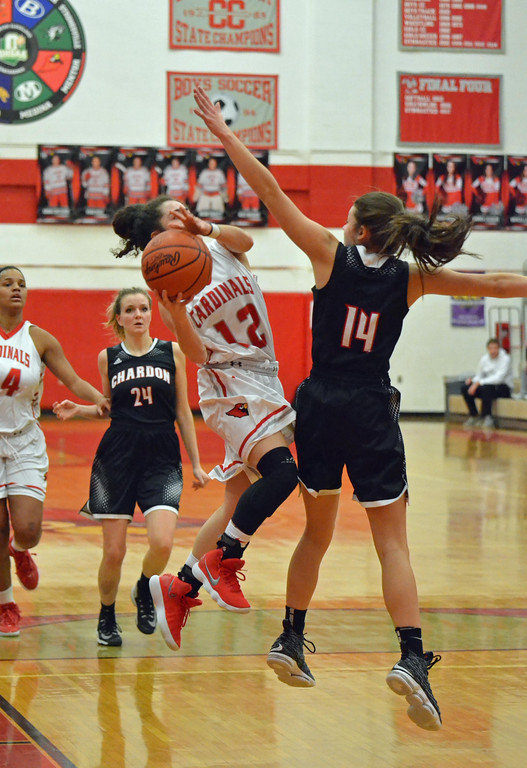 . Paul DiCicco - The News-Herald Mentor\'s Jasmine Guyton (12), driving and shooting around an outstretched Sydney Feller (14) on Feb 22.