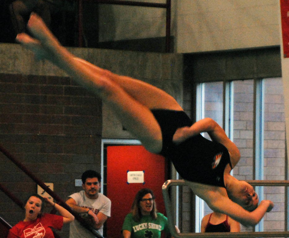 . Jon Behm - The Morning Journal<br> Avon sophomore Amanda Socha twists during a dive at the Division I girls state diving competition on Feb. 22 at the C.T. Branin Natatorium in Canton. Socha placed 18th with a score of 277.60.