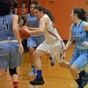 Paul DiCicco - The News-Herald<br /> North's Destiny Leo driving across midcourt, looks to score in transition.