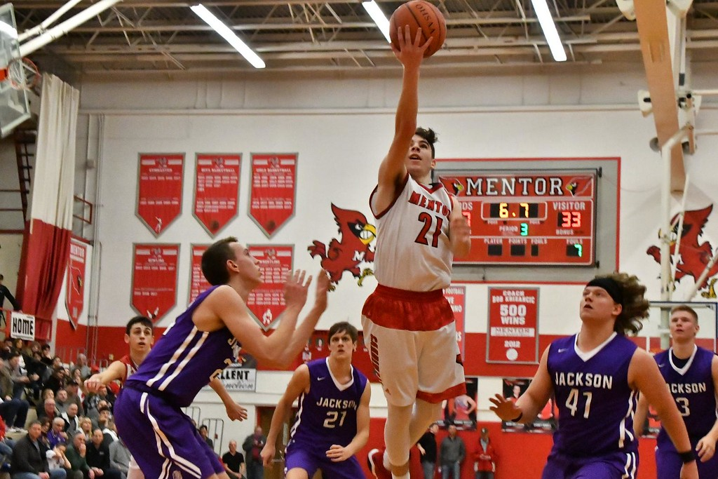 . Brittany Chay - The News-Herald Mentor\'s Shane Zalba shoots during the Cardinals\' victory over Massillon Jackson on Feb. 24.