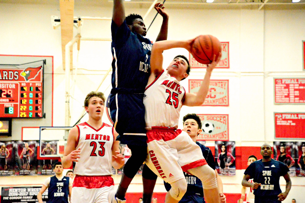 . Brittany Chay - The News-Herald Mentor\'s Luke Floriea is fouled by Spire\'s Trent Watson during the Cardinals\' victory on Feb. 25.