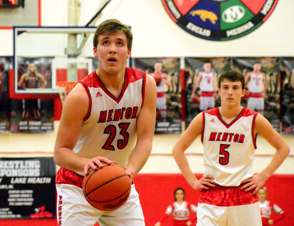 . Brittany Chay - The News-Herald Mentor\'s Tadas Tatarunas shoots a free throws against Spire during the Cardinals\' victory on Feb. 25.