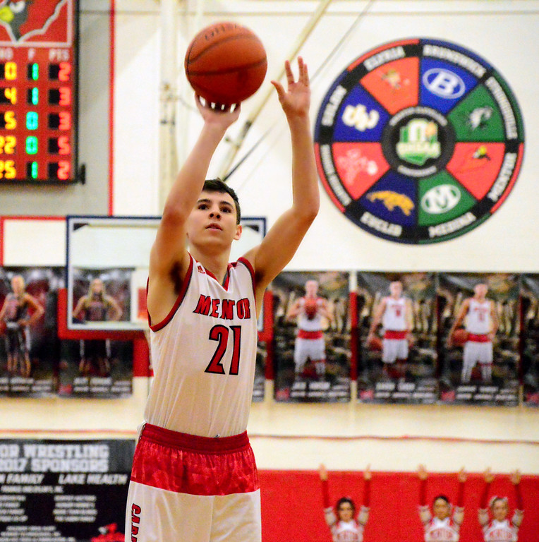 . Brittany Chay - The News-Herald Mentor\'s Shane Zalba shoots a free throws against Spire during the Cardinals\' victory on Feb. 25.
