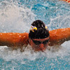 Jon Behm - The Morning Journal<br /> Avon senior Ben Brooks swims the butterfly leg of the 200 IM at the Division I State swim meet at C.T. Branin Natatorium in Canton on Feb. 25. Brooks placed third with a time of 1:50.36.