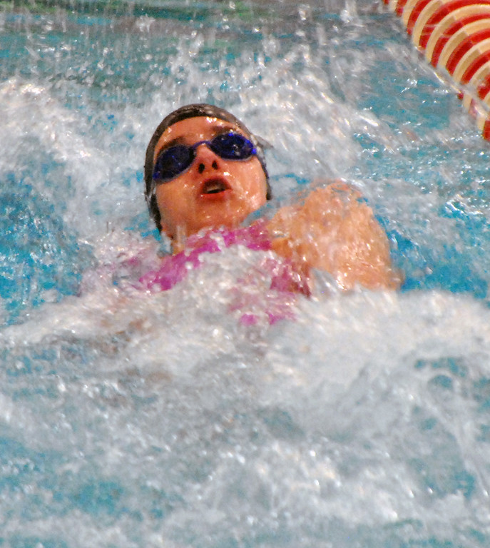 . Jon Behm - The Morning Journal Rocky River freshman Morgan Schuld swims the backstroke leg of the girls 200 medley relay at the Division I State swim meet at C.T. Branin Natatorium in Canton on Feb. 25. The Pirates\' relay finished 16th with a time of 1:48.58.