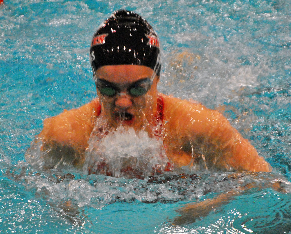 . Jon Behm - The Morning Journal Rocky River senior Laura Banks swims the 100 breaststroke at the D-I State meet on Feb. 25.