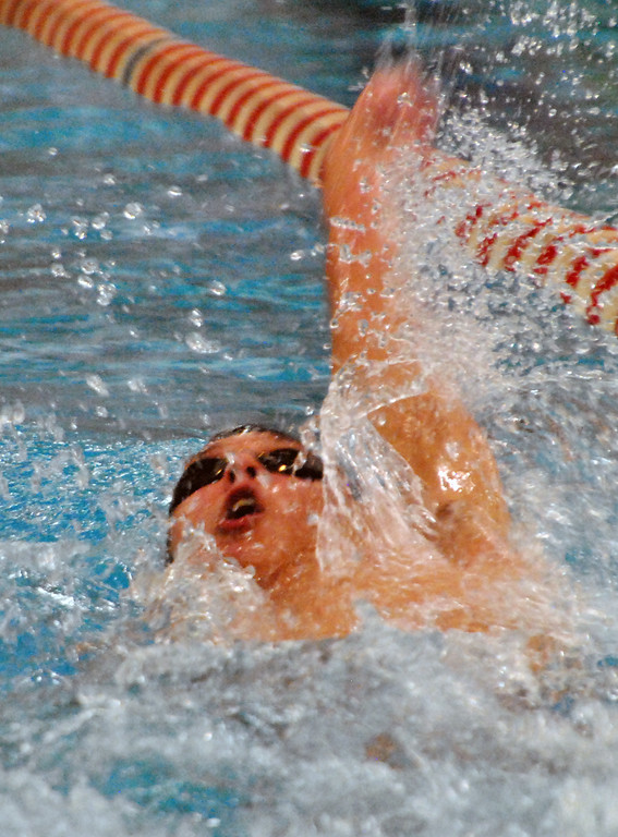 . Jon Behm - The Morning Journal Avon senior Ben Brooks swims the backstroke leg of the 200 IM at the Division I State swim meet at C.T. Branin Natatorium in Canton on Feb. 25. Brooks placed third with a time of 1:50.36.