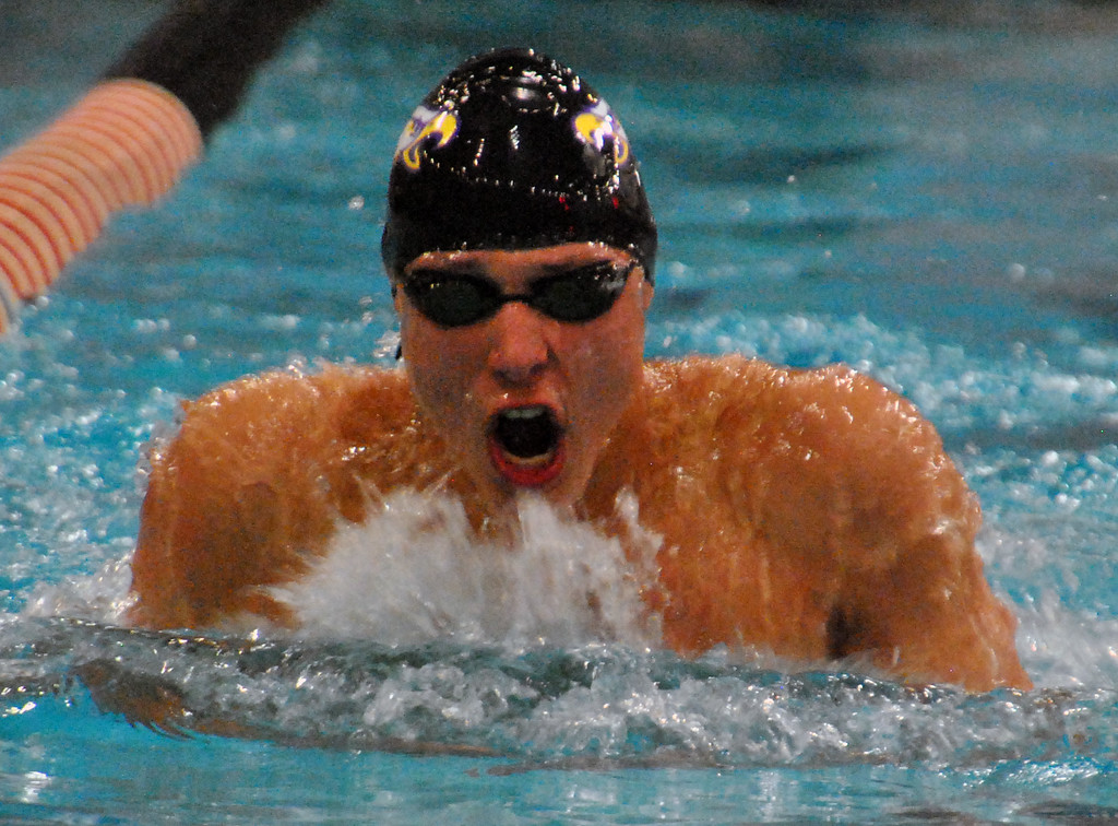 . Jon Behm - The Morning Journal Avon senior Ben Brooks swims the 100 breaststroke at the D-I State swim meet at C.T. Branin Natatorium in Canton on Feb. 25. Brooks took second with a time of 56.28.