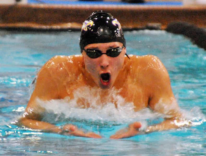 Jon Behm - The Morning Journal<br /> Avon senior Ben Brooks swims the breaststroke leg of the 200 IM at the D-I State meet on Feb. 25.
