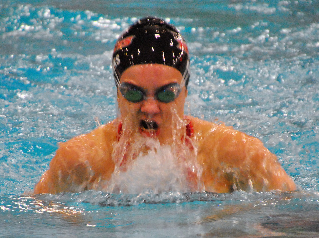 . Jon Behm - The Morning Journal Rocky River senior Laura Banks swims the 100 breaststroke at the D-I State swim meet at C.T. Branin Natatorium in Canton on Feb. 25. Banks took 15th with a time of 1:05.30.