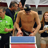 Jon Behm - The Morning Journal<br /> Avon senior Ben Brooks climbs the block for the 200 IM at the Division I State swim meet at C.T. Branin Natatorium in Canton on Feb. 25. Brooks placed third with a time of 1:50.36.