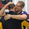 Jon Behm - The Morning Journal<br /> Avon Coach Sean Hicks congratulates and embraces senior Ben Brooks after Brooks placed second in the 100 breaststroke at the D-I State meet on Feb. 25.