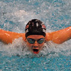 Jon Behm - The Morning Journal<br /> Rocky River freshman Anna Skapoulas swims the buttefly leg of the girls 200 medley relay at the Division I State swim meet at C.T. Branin Natatorium in Canton on Feb. 25. The Pirates' relay finished 16th with a time of 1:48.58.