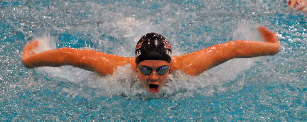 . Jon Behm - The Morning Journal Rocky River freshman Anna Skapoulas swims the buttefly leg of the girls 200 medley relay at the Division I State swim meet at C.T. Branin Natatorium in Canton on Feb. 25. The Pirates\' relay finished 16th with a time of 1:48.58.
