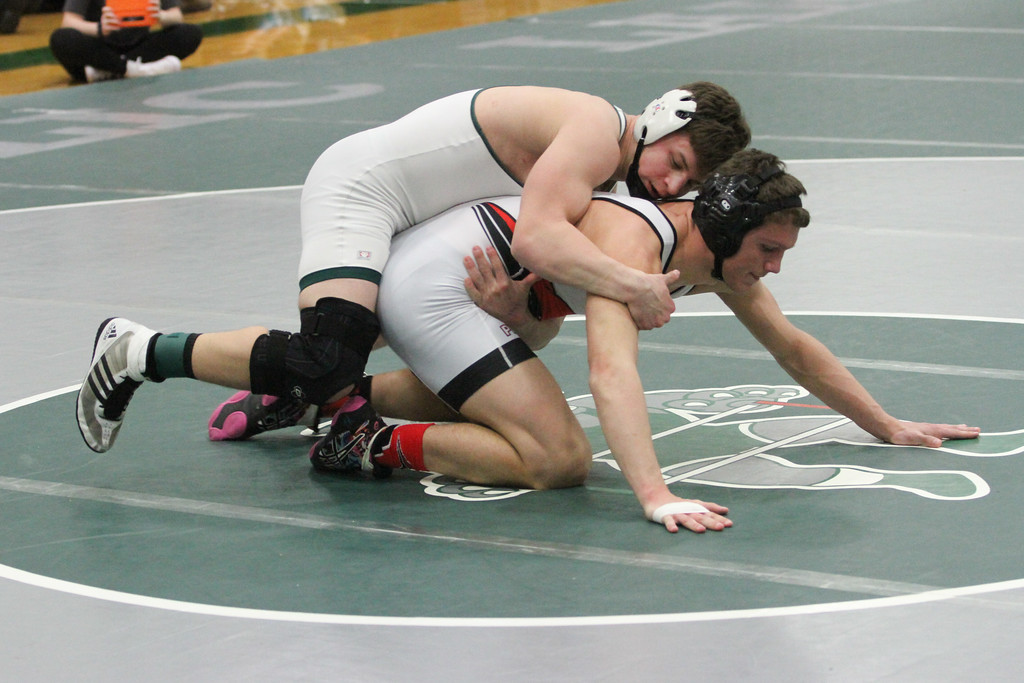 . Barry Booher - The News-Herald Collin Langer ( Lake Catholic ) (TOP ) v Sam Cales ( Perry ) 152 LBS.
