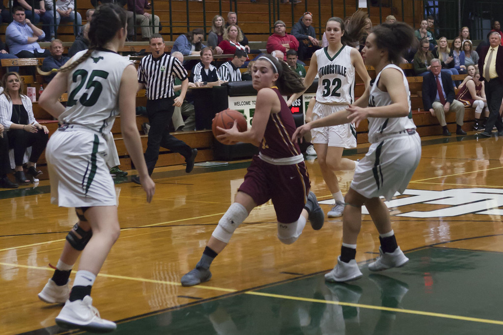 . Jen Forbus - The Morning Journal Avon Lake\'s Ariana Negron drives with determination past Strongsville\'s Lindsey Thall (25) and Drew Robinson.