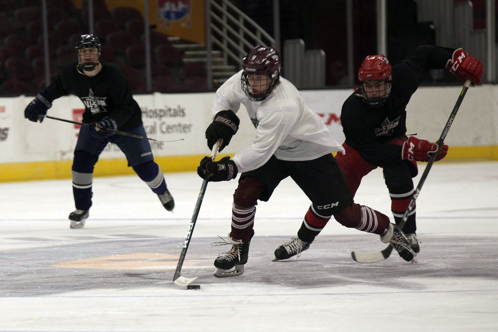 . Jen Forbus - The Morning Journal Rocky River\'s Eddie Zuercher races toward the White Team\'s goal with possession of the puck during the GCHSHL All-Star hockey game on March 4 at the Quicken Loans Area.