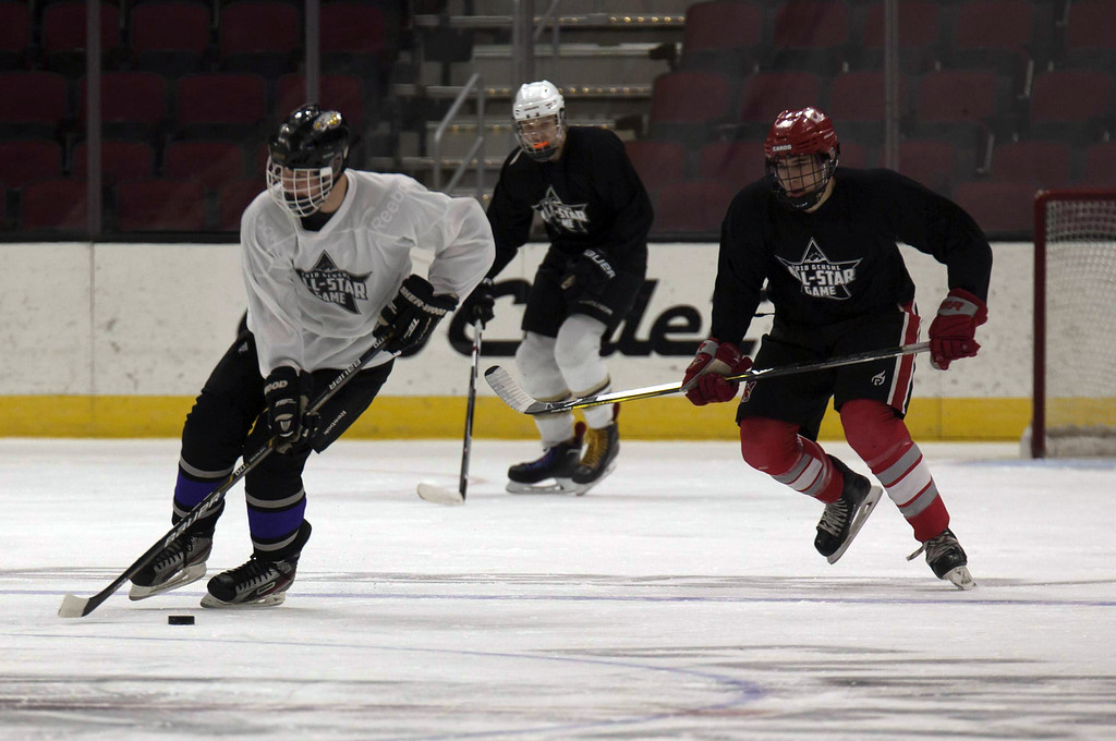 . Jen Forbus - The Morning Journal  Avon\'s Jacob Folds grabs possession of the puck during the first round the GCHSHL All-Star hockey game on March 4 at the Quicken Loans Area.