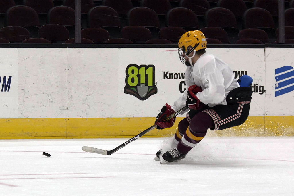 . Jen Forbus - The Morning Journal Avon Lake\'s Connor Koncelik sprays a little ice in the GCHSHL All-Star hockey game on March 4 at the Quicken Loans Area.