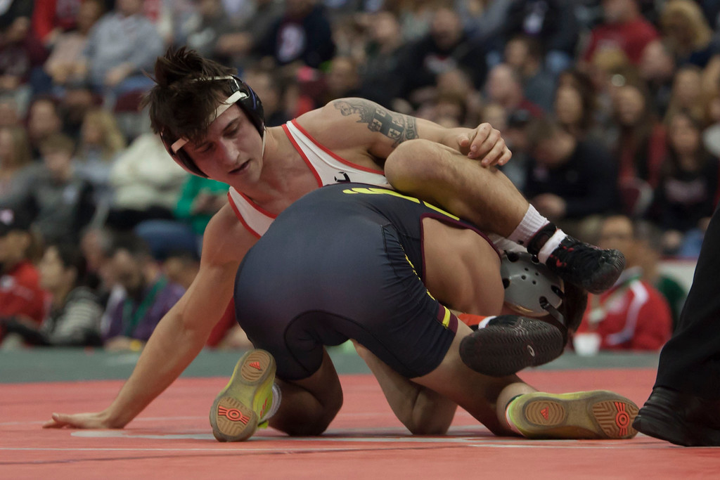 . Jen Forbus - The Morning Journal<br> Brendon Fenton of Elyria and Julian Tagg of Brecksville-Broadview Heights vie for the state title in the Division I 120 weight class.