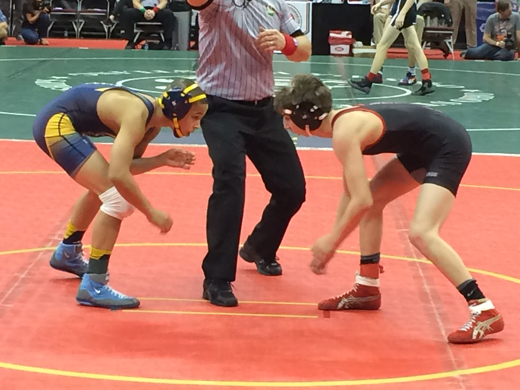 . Fuad Shalhout - The Morning Journal Firelands freshman Payton Burgdorf, right, prepares to grapple on the first day of the state finals.