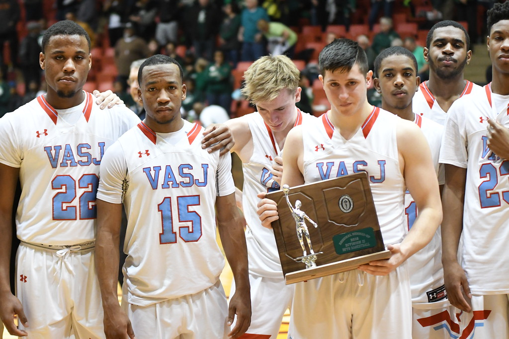 . Patrick Hopkins - The News-Herald Photos from the VASJ vs. Akron St. Vincent-St. Mary Division II regional final boys basketball game on March 17, 2018.