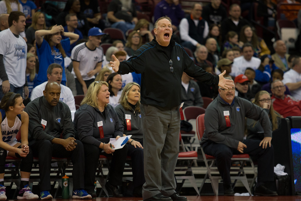 . Michael Johnson - The News-Herald Gilmour head coach, Bob Beutel argues with referees during the 2017 OHSAA Girls State Final game at the Schottenstein Center in Columbus on March 18.  The Gilmour girls Basketball team defeated the Versailles Tigers 56-54 to become State Champions.