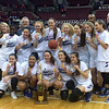 John Kampf - The News-Herald<br /> The Gilmour girls basketball team celebrates its Division III state championship on March 18 in Columbus.