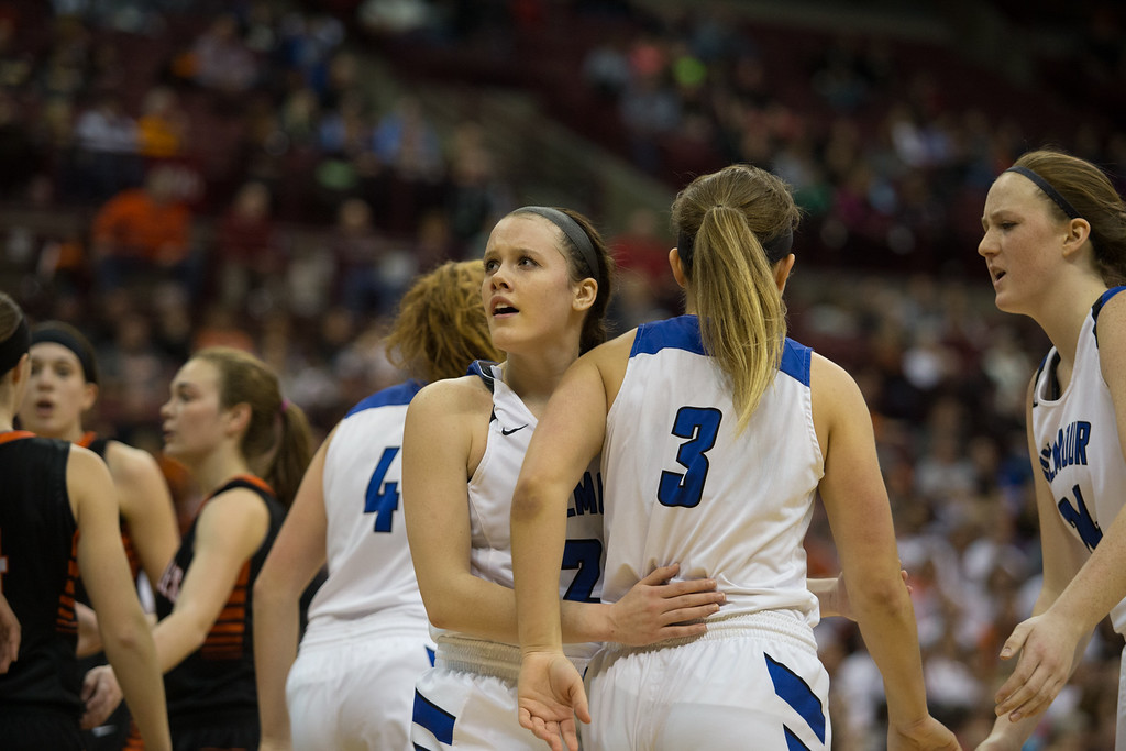 . Michael Johnson - The News-Herald Gilmour Academy\'s Annika Corcoran looks up at the scoreboard in the final minutes of the  2017 OHSAA Girls State Final game at the Schottenstein Center in Columbus on March 18.  The Gilmour girls Basketball team defeated the Versailles Tigers 56-54 to become State Champions.