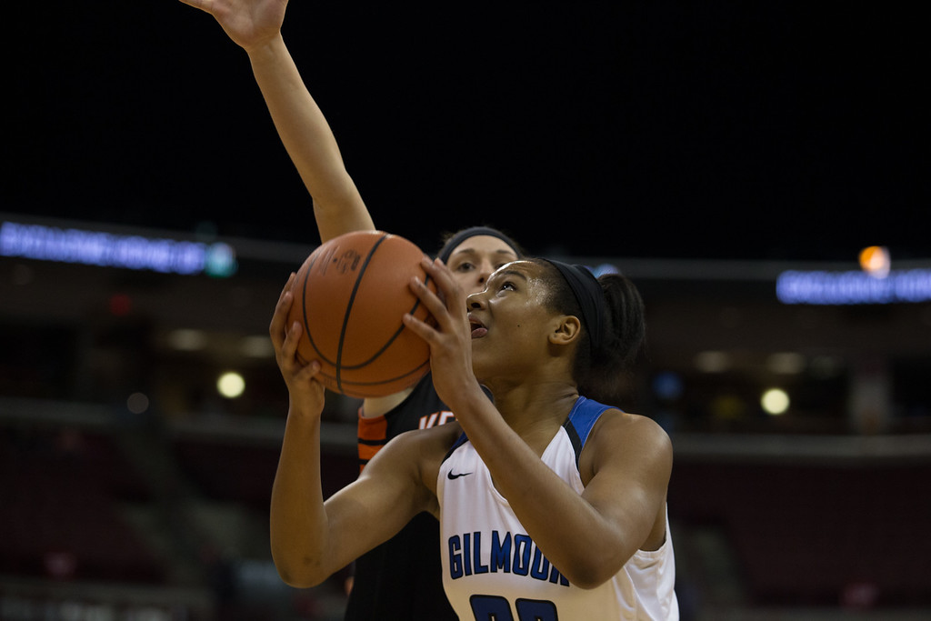 . Michael Johnson - The News-Herald Gilmour Academy\'s Naz Hillmon goes up for a lay up during the 2017 OHSAA Girls State Final game at the Schottenstein Center in Columbus on March 18.  The Gilmour girls Basketball team defeated the Versailles Tigers 56-54 to become State Champions.