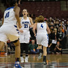 Michael Johnson - The News-Herald<br /> Gilmour Academy's Annika Corcoran celebrates after scoring in the final minutes of the  2017 OHSAA Girls State Final game at the Schottenstein Center in Columbus on March 18.  The Gilmour girls Basketball team defeated the Versailles Tigers 56-54 to become State Champions.