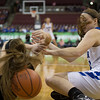 Michael Johnson - The News-Herald<br /> Gilmour Academy's Sydney Diedrich (right) dives for the ball against a Versailles defender during the 2017 OHSAA Girls State Final game at the Schottenstein Center in Columbus on March 18.  The Gilmour girls Basketball team defeated the Versailles Tigers 56-54 to become State Champions.