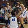 Michael Johnson - The News-Herald<br /> Gilmour Academy's Annika Corcoran (21) and Emily Kelley (4) help up Naz Hillmon (00) off the court during the 2017 OHSAA Girls State Final game at the Schottenstein Center in Columbus on March 18.  The Gilmour girls Basketball team defeated the Versailles Tigers 56-54 to become State Champions.