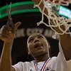 Michael Johnson - The News-Herald<br /> Gilmour Academy's Naz Hillmon cuts a piece of the net after winning the 2017 OHSAA Girls State Final game at the Schottenstein Center in Columbus on March 18.  The Gilmour girls Basketball team defeated the Versailles Tigers 56-54 to become State Champions.