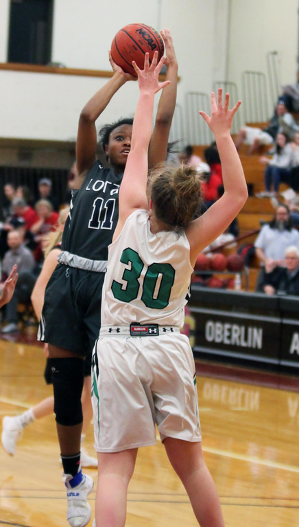 . Randy Meyers - The Morning Journal Lorain\'s Phyllicia Weatherspoon  shoots over Madison Spirnak of Columbia during the second half of the  Girl\'s All Star game on Sunday