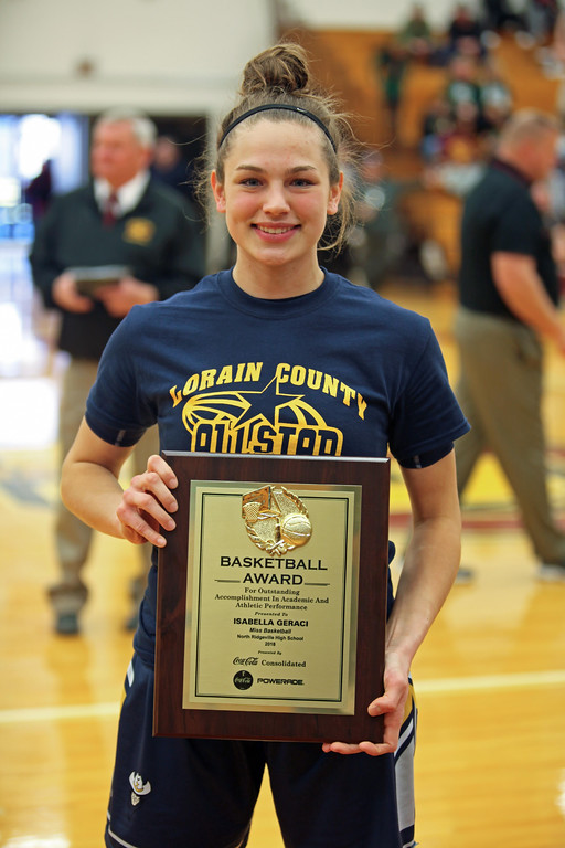 . Randy Meyers - The Morning Journal North Ridgeville\'s Isabella Geraci  is awarded Lorain County\'s Miss Basketball 2018 at the Girl\'s All Stars on  Sunday March 18th