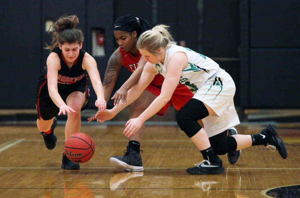 . Randy Meyers - The Morning Journal Diving after a loose ball are  Alexis Williams of Brookside (left), Michaela King of Elyria and Mikayla  Dupaski of Columbia during the first half of the girl\'s All Star game on  Sunday