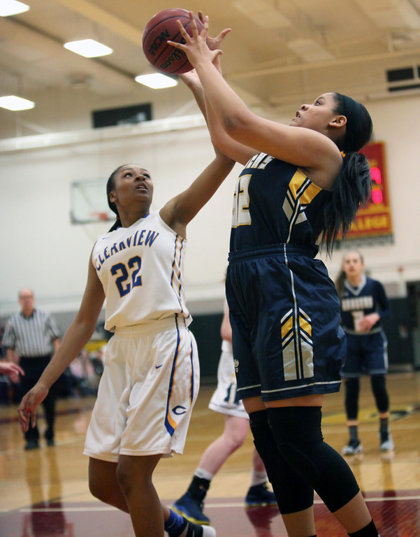 . Randy Meyers - The Morning Journal Cianna Bright of North Ridgeville   scores over Brandyce Smith of Clearview during the Rising Stars game on   Sunday at Oberlin College